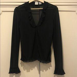 Armani Exchange black sheer ruffle front blouse